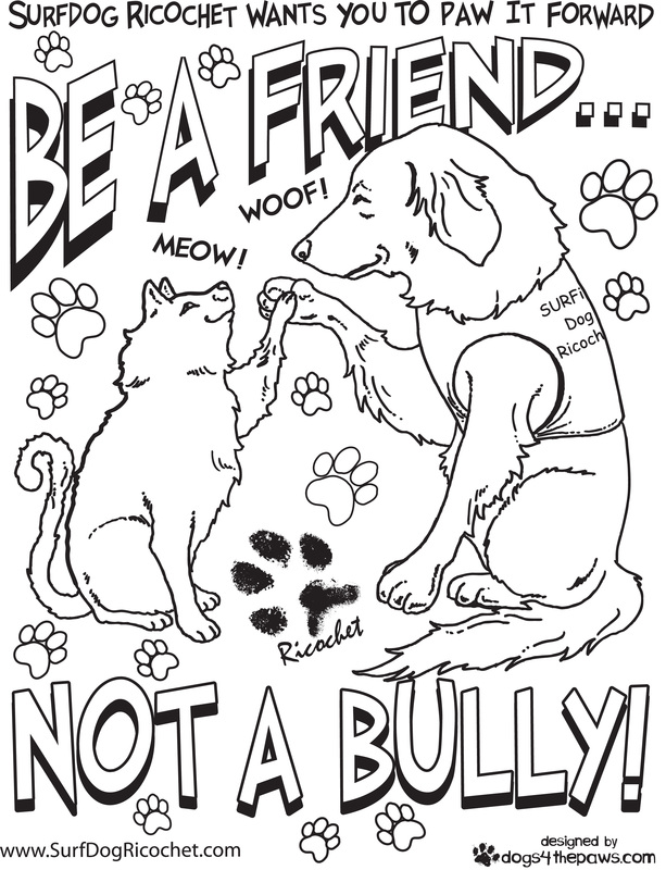 Surf dogs anti bullying campaign for Therapeutic coloring pages for children