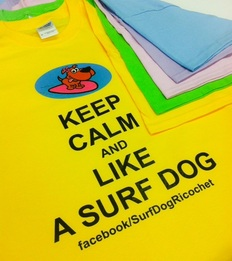 dogs surfing t shirt yellow