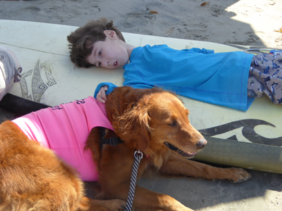 special needs kids with surfing dog