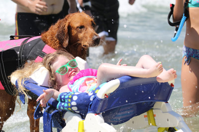Child with SMA surfing with dog