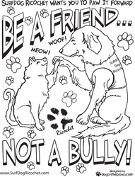 Be a friend, not a bully coloring page